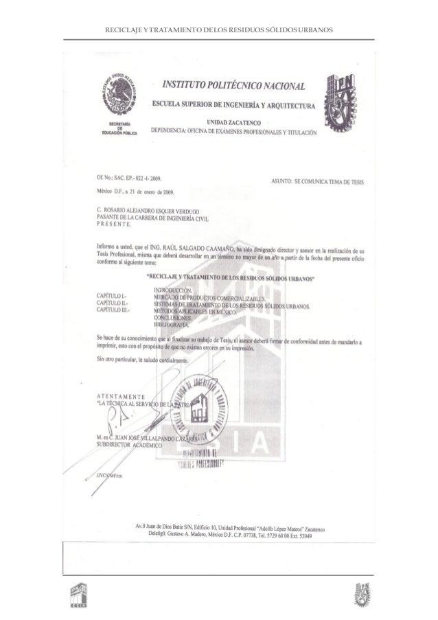 RECICLAJE Y TRATAMIENTO DE LOS RESIDUOS SÓLIDOS URBANOS
