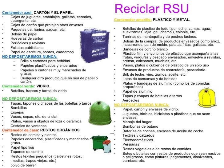 Reciclar RSU <ul><li>Contenedor azul :   CARTÓN Y EL PAPEL.  </li></ul><ul><li>Cajas de juguetes, embalajes, galletas, cer...