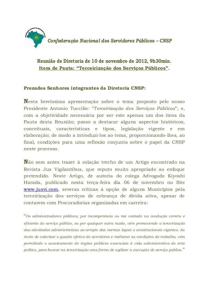C      o      Confederação Nacional dos Servidores Públicos – CNSP        Reunião de Diretoria de 10 de novembro de 2012, ...