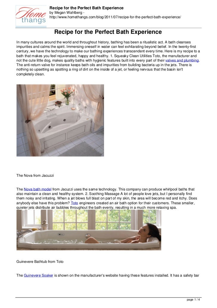 Recipe for the Perfect Bath Experience                     by Megan Wahlberg -                     http://www.homethangs.c...