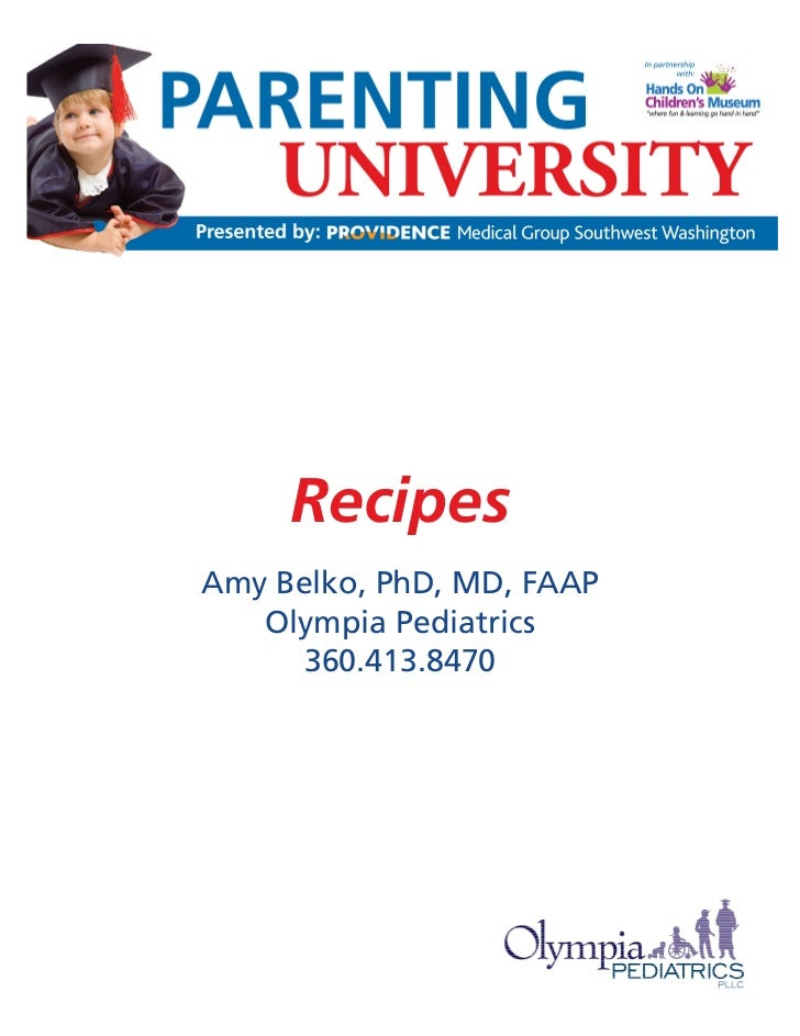 Parenting U: Child Nutrition - Recipes