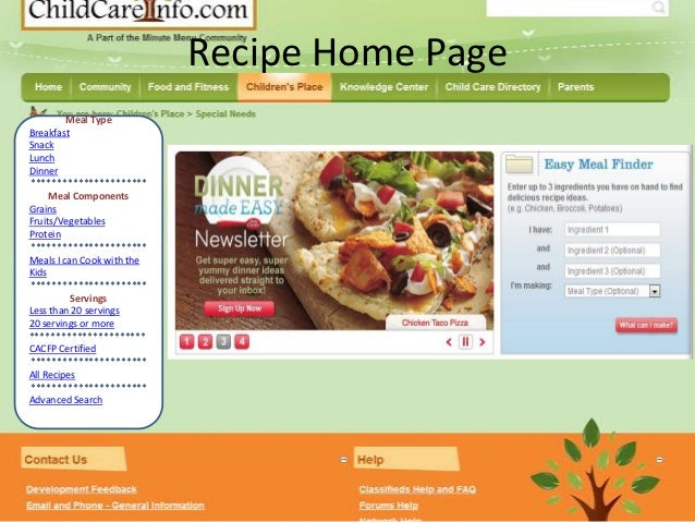 Recipe Home Page         Meal TypeBreakfastSnackLunchDinner**********************     Meal ComponentsGrainsFruits/Vegetabl...