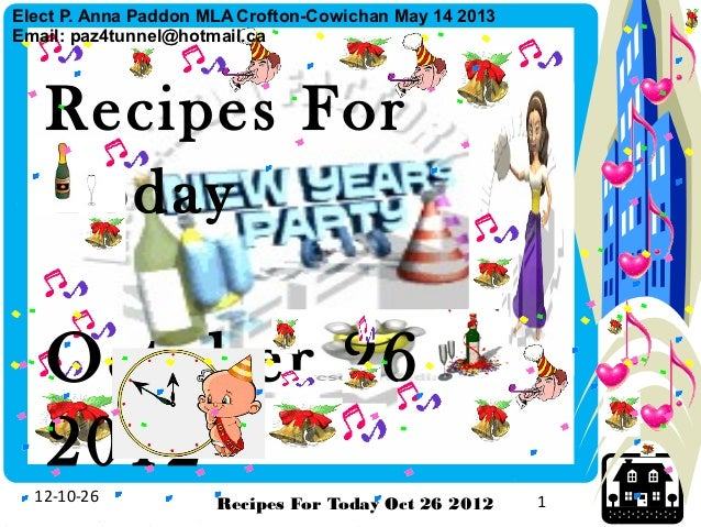 Recipes For Today Exercise Oct 26  2012