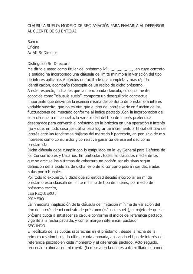 Reclamacion clausula suelo for Reclamacion hipoteca suelo
