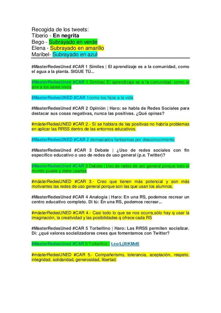 Recogida de los tweets:Tiberio - En negritaBego - Subrayado en verdeElena - Subrayado en amarilloMaribel- Subrayado en azu...