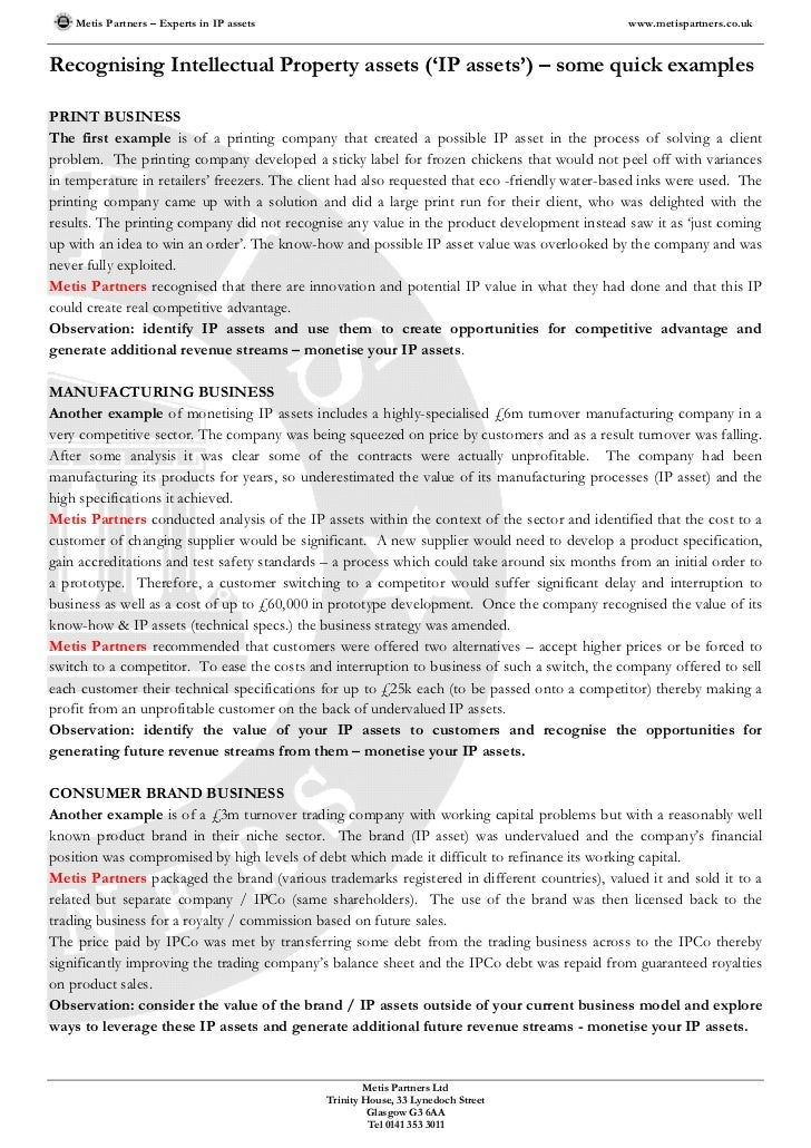 Metis Partners – Experts in IP assets                                                       www.metispartners.co.ukRecogni...
