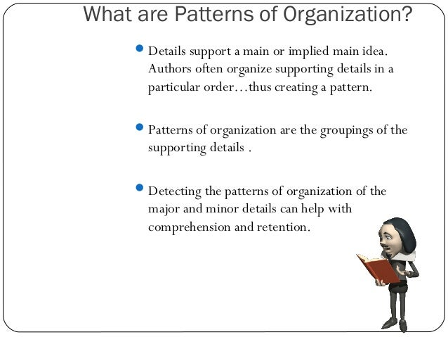 essay organization patterns Patterns of organization separating supporting points from main ideas is an important reading skill the organization of the supporting details will help you understand how an author thinks.