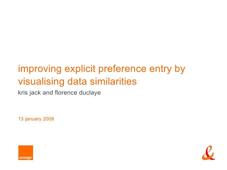 improving explicit preference entry byvisualising data similaritieskris jack and florence duclaye13 january 2008