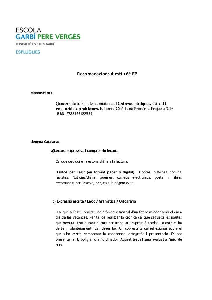 Recomanacions d'estiu 6è EPMatemàtica :                 Quadern de treball. Matemàtiques. Destreses bàsiques. Càlcul i    ...