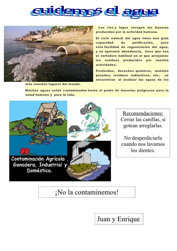 Los ríos y lagos recogen las basuras                                      producidas por la actividad humana.             ...
