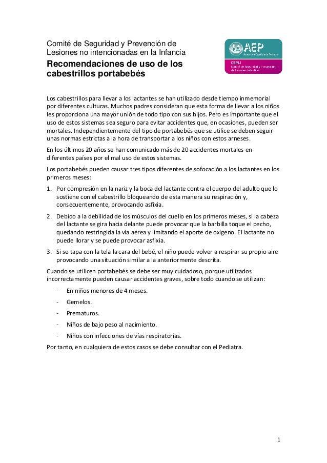 Recomendaciones de uso de los cabestrillos portabebés (AEP)