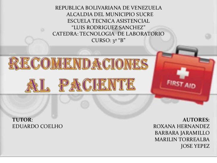 REPUBLICA BOLIVARIANA DE VENEZUELA               ALCALDIA DEL MUNICIPIO SUCRE                ESCUELA TECNICA ASISTENCIAL  ...