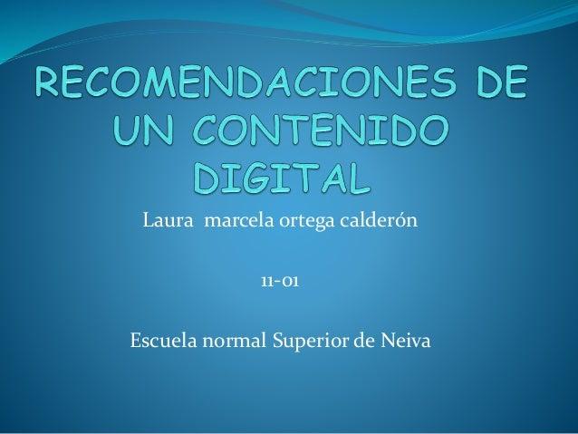 Laura marcela ortega calderón  11-01  Escuela normal Superior de Neiva