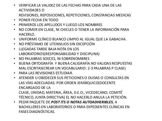 • VERIFICAR LA VALIDEZ DE LAS FECHAS PARA CADA UNA DE LAS ACTIVIDADES O REVISIONES, REPOSICIONES, REPETICIONES, CONSTANCIA...