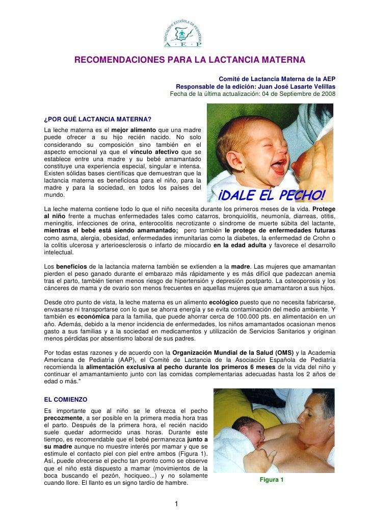RECOMENDACIONES PARA LA LACTANCIA MATERNA                                                                Comité de Lactanc...