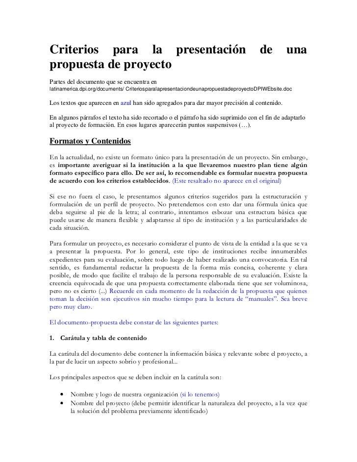 Criterios para la presentación                                                      de        unapropuesta de proyectoPart...