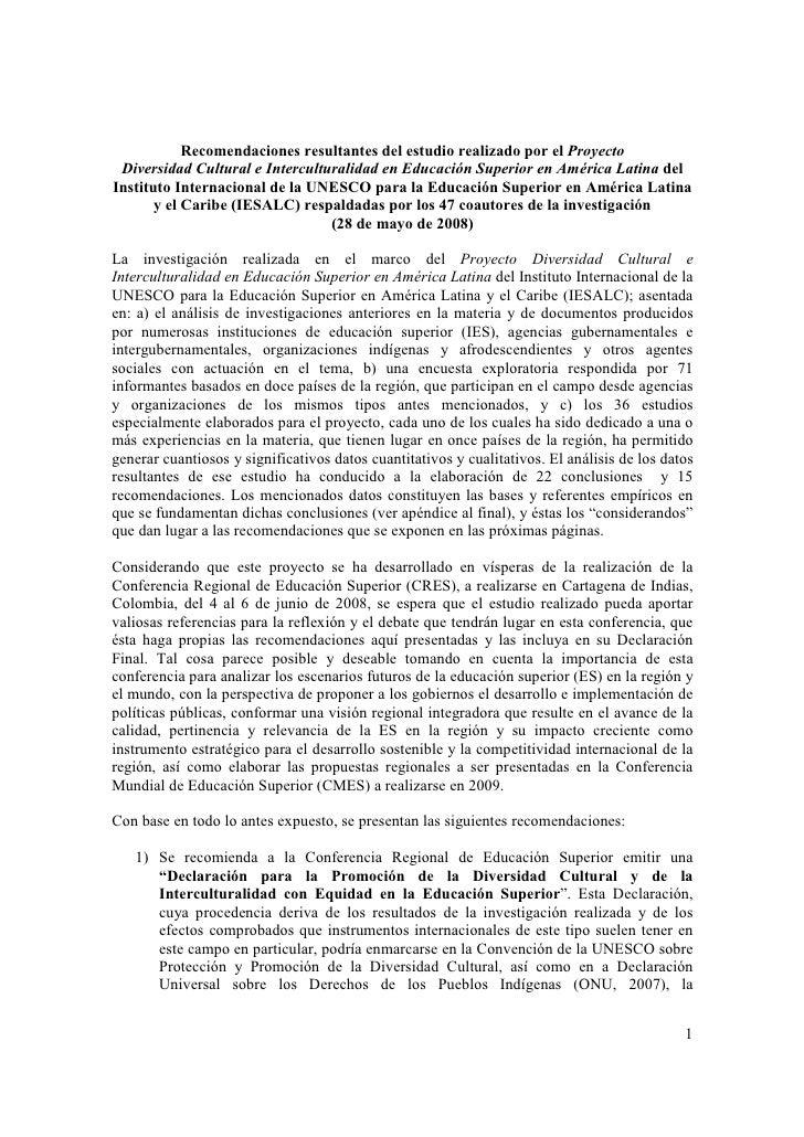 Recomendaciones Proyecto Diversidad e Interculturalidad