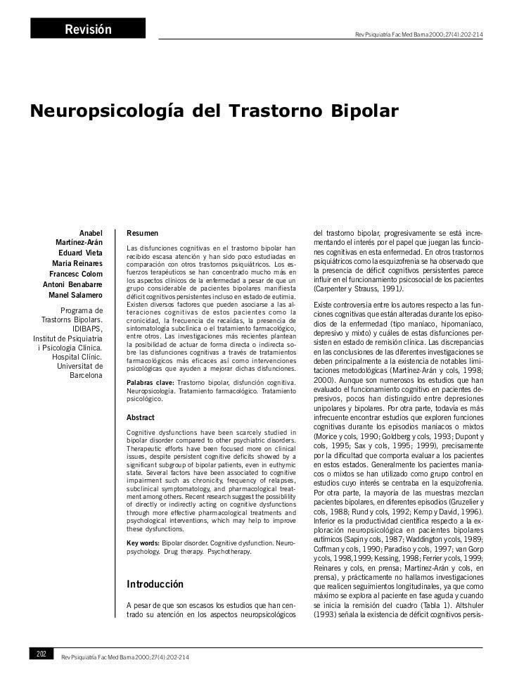 Recomendado neuropsicología del trastorno bipolar 13 págs. ok