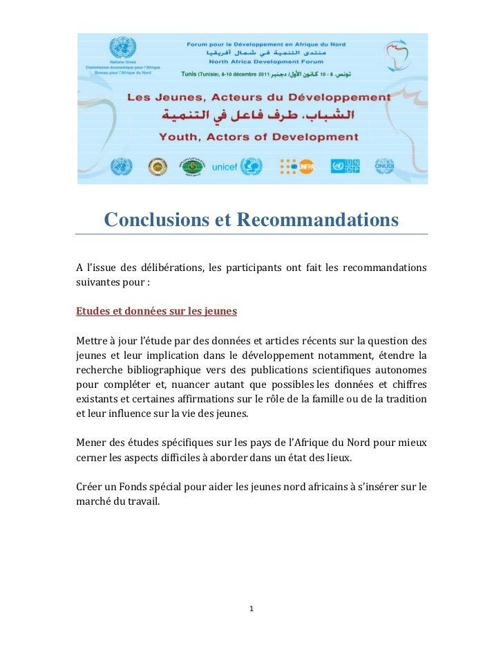 Conclusions et RecommandationsA l'issue des délibérations, les participants ont fait les recommandationssuivant...