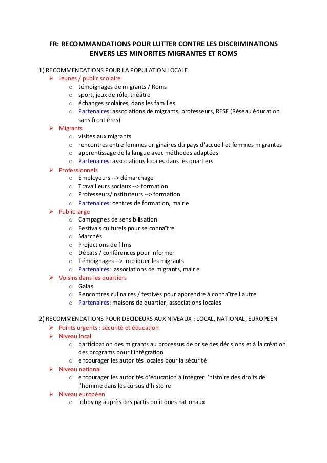 FR: RECOMMANDATIONS POUR LUTTER CONTRE LES DISCRIMINATIONS             ENVERS LES MINORITES MIGRANTES ET ROMS1) RECOMMENDA...