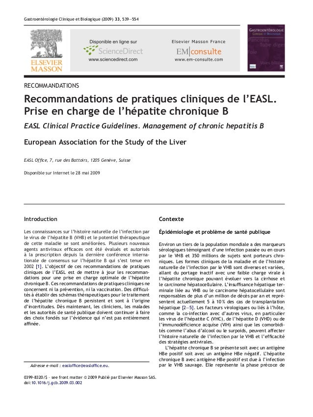 Gastroentérologie Clinique et Biologique (2009) 33, 539—554RECOMMANDATIONSRecommandations de pratiques cliniques de l'EASL...