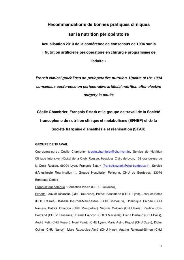 1  Recommandations de bonnes pratiques cliniques sur la nutrition périopératoire  Actualisation 2010 de la conférence de c...