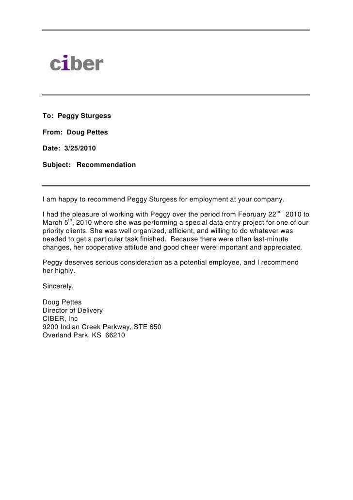 Recommendation Memo Peggy Sturgess 1