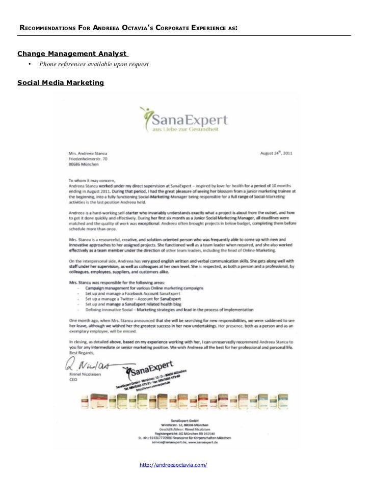 RECOMMENDATIONS FOR ANDREEA OCTAVIA'S CORPORATE EXPERIENCE    AS:Social Media Marketing - SanaExpert                      ...