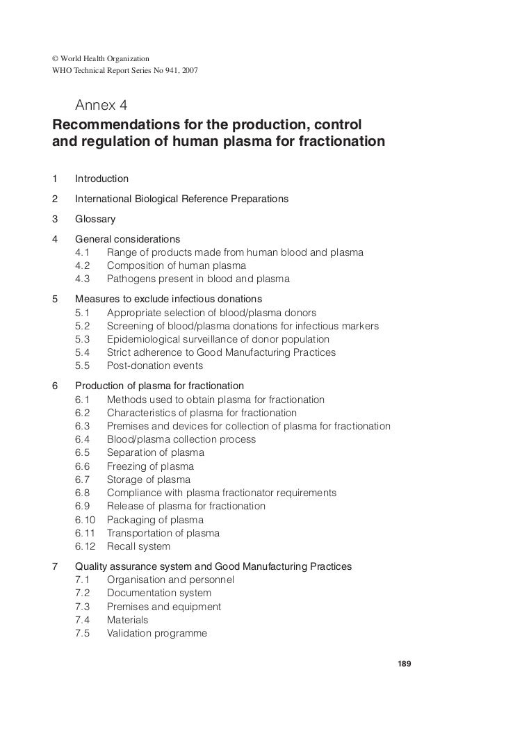 Recommendations for the production, control & regulation of human plasma for fractionation