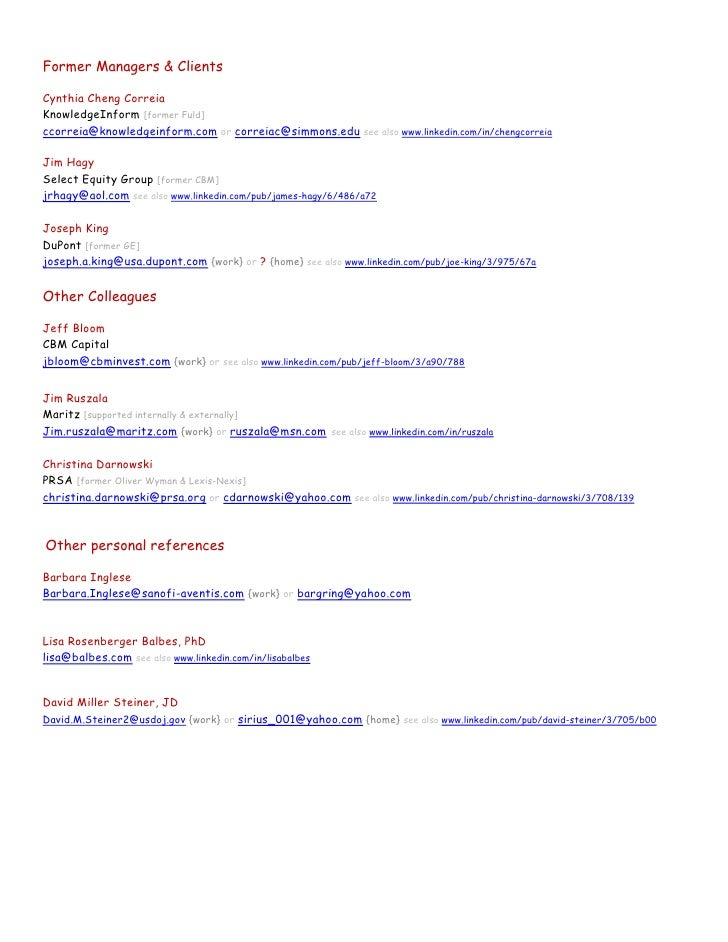 2011 Recommendations & References {contacts redacted} draft