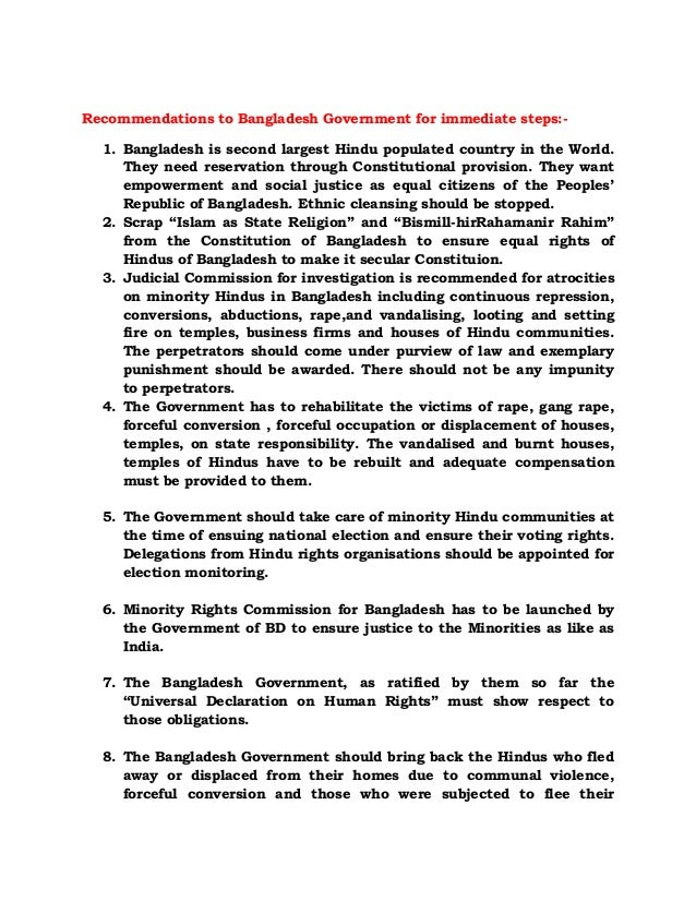 Recommendations to bangladesh government for immediate steps