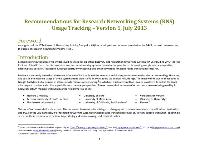 Recommendations for usage tracking for research networking systems, v.1. July 2013