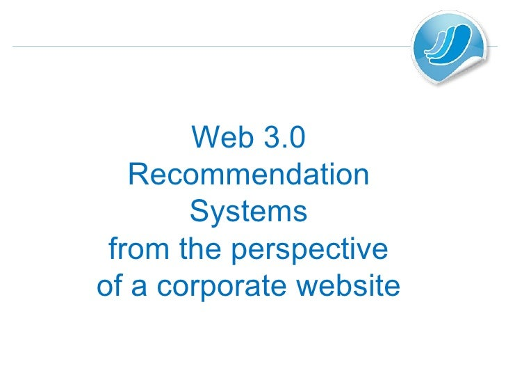 Web 3.0 Recommendation Systems from the perspective of a corporate website