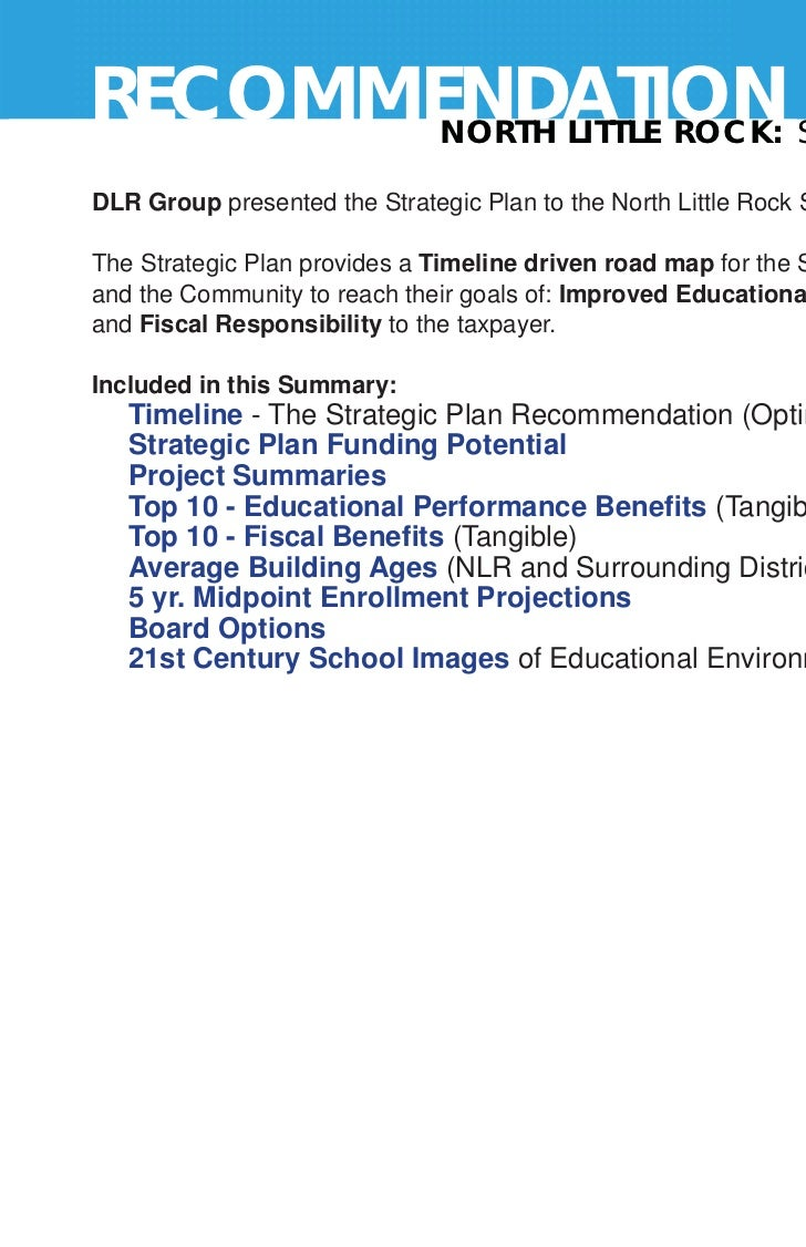 RECOMMENDATION STRATEGIC PLAN 2011       NORTH LITTLE ROCK:                                                               ...