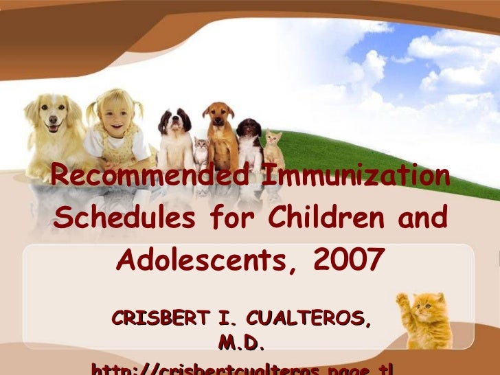 Recommended Immunization Schedules For Children And Adolescents,