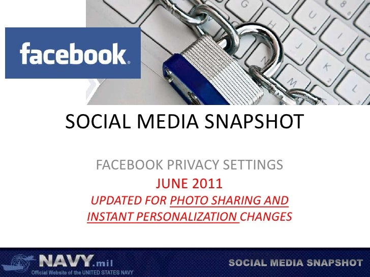 SOCIAL MEDIA SNAPSHOT<br />FACEBOOK PRIVACY SETTINGS<br />JUNE 2011<br />UPDATED FOR PHOTO SHARING AND <br />INSTANT PERSO...