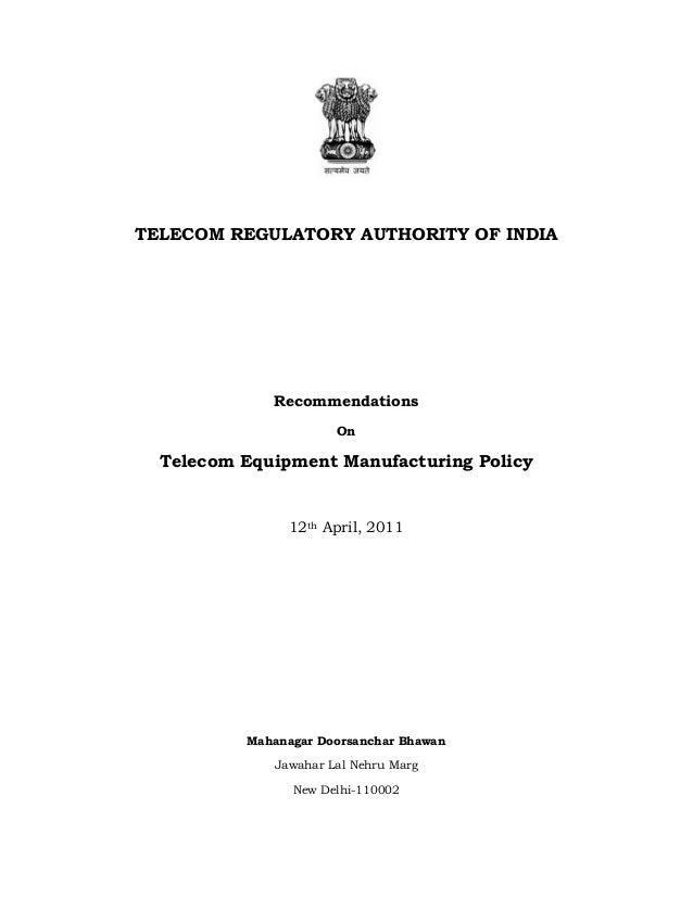 Recommondation teleco(manufacturing)