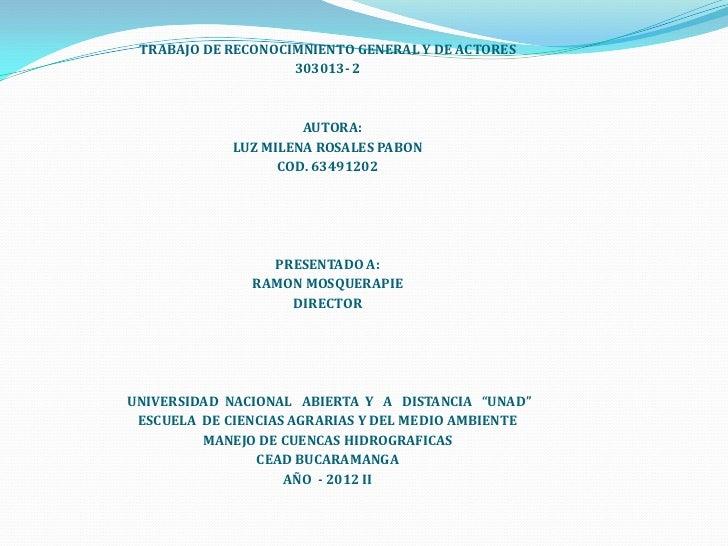 TRABAJO DE RECONOCIMNIENTO GENERAL Y DE ACTORES                    303013- 2                      AUTORA:             LUZ ...