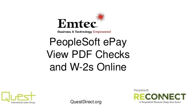PeopleSoft ePay View PDF Checks and W-2s Online  QuestDirect.org