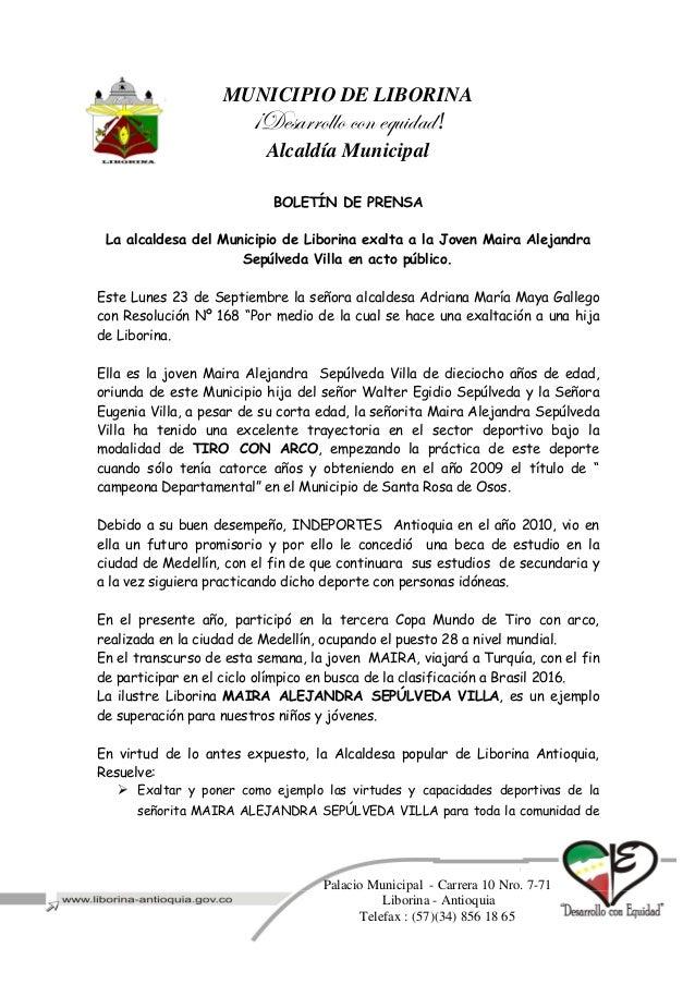 MUNICIPIO DE LIBORINA 'WxátÜÜÉÄÄÉ vÉÇ xÖâ|wtw! Alcaldía Municipal Palacio Municipal - Carrera 10 Nro. 7-71 Liborina - Anti...