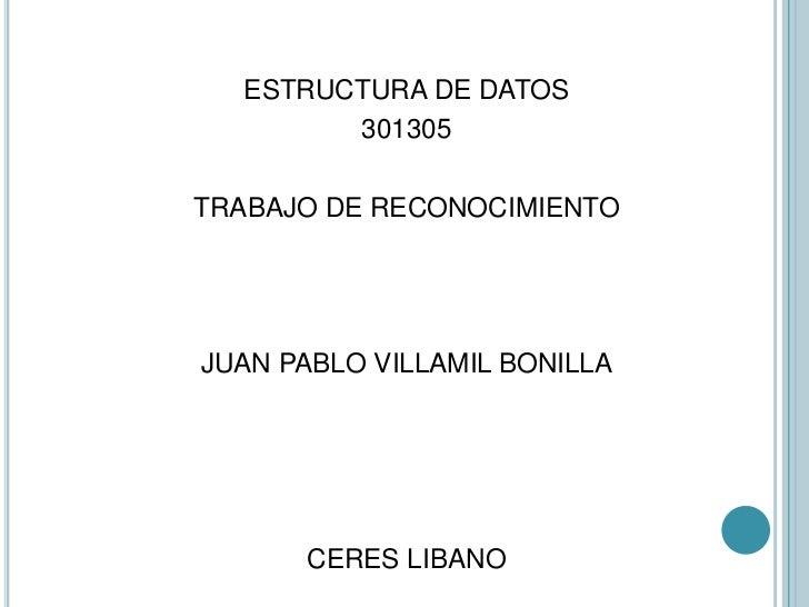 ESTRUCTURA DE DATOS        301305TRABAJO DE RECONOCIMIENTOJUAN PABLO VILLAMIL BONILLA      CERES LIBANO
