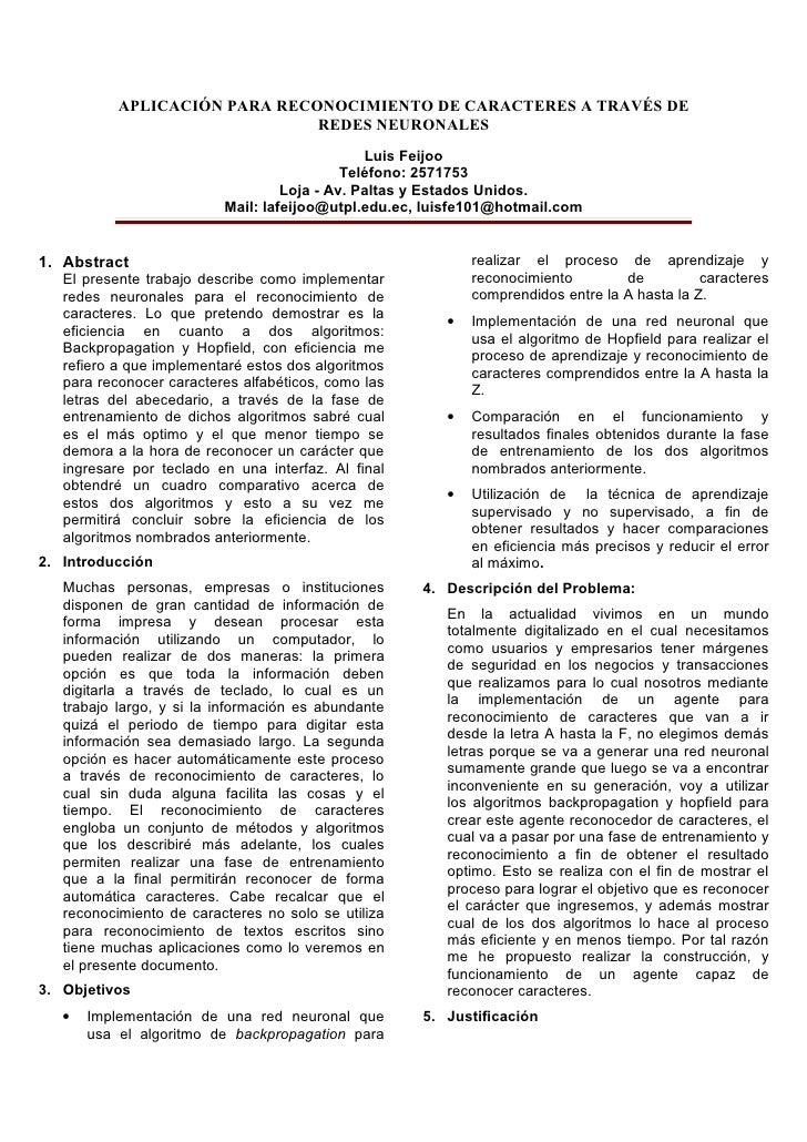 APLICACIÓN PARA RECONOCIMIENTO DE CARACTERES A TRAVÉS DE                                REDES NEURONALES                  ...