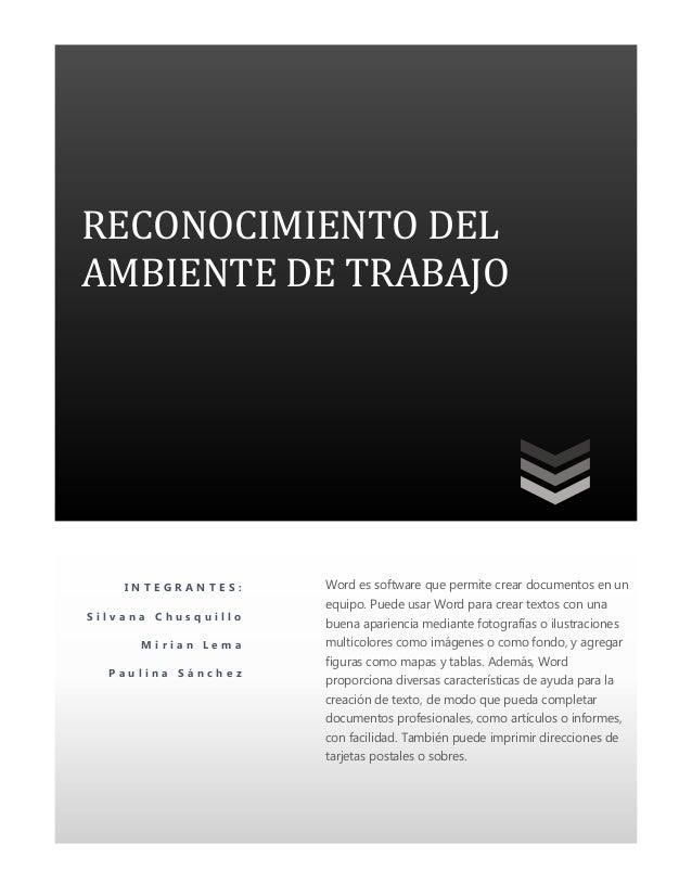 Reconocimiento del ambiente de trabajo en word 2010 for Ambiente de trabajo