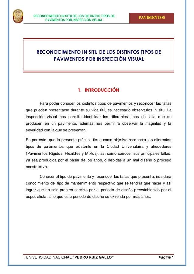 """RECONOCIMIENTO IN SITU DE LOS DISTINTOS TIPOS DE PAVIMENTOS POR INSPECCIÓN VISUAL PAVIMENTOS UNIVERSIDAD NACIONAL """"PEDRO R..."""