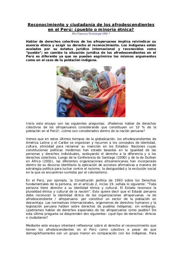 Reconocimiento y ciudadanía de los afrodescendientes en el Perú: ¿pueblo o minoría étnica? Por Vanessa Verástegui Ollé * H...
