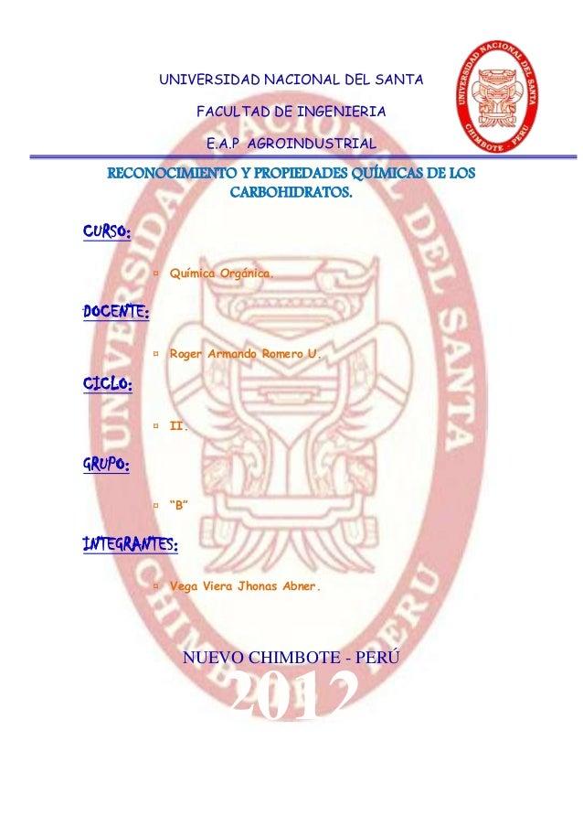 UNIVERSIDAD NACIONAL DEL SANTA                   FACULTAD DE INGENIERIA                    E.A.P AGROINDUSTRIAL   RECONOCI...