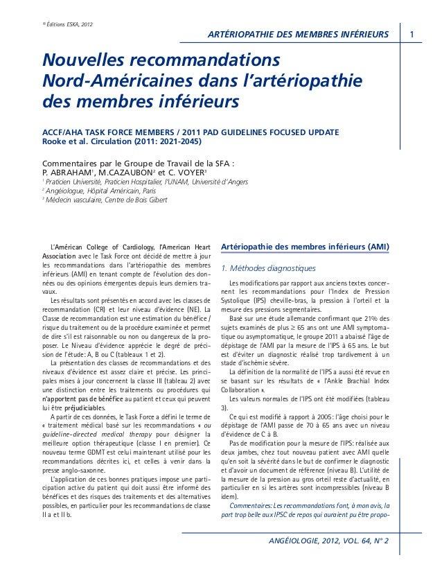 ARTÉRIOPATHIE DES MEMBRES INFÉRIEURSANGÉIOLOGIE, 2012, VOL. 64, N° 21© Éditions ESKA, 2012L'Américan College of Cardiology...