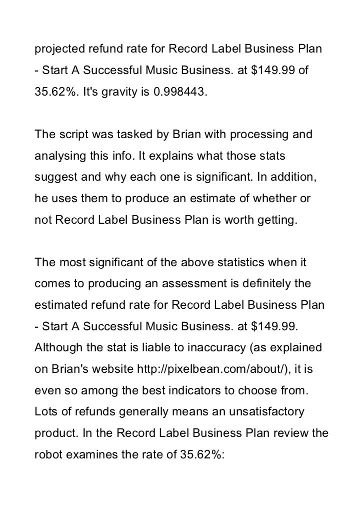 Music label business plan