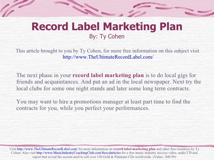 Record Label Business Record Label Marketing Plan