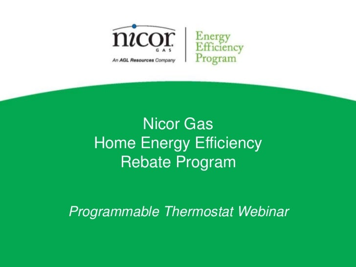 Nicor Gas Programmable Thermostat Rebate